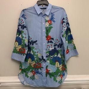 Zara Woman pinstriped floral print button down top